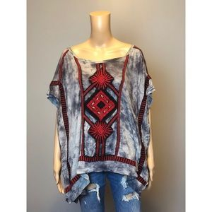 Free people tie dye tribal print high low T shirt